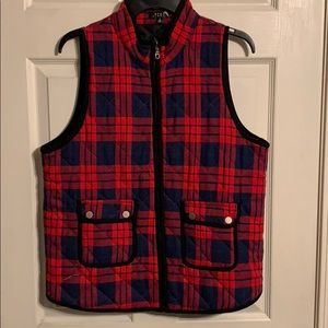 Navy and Red plaid vest